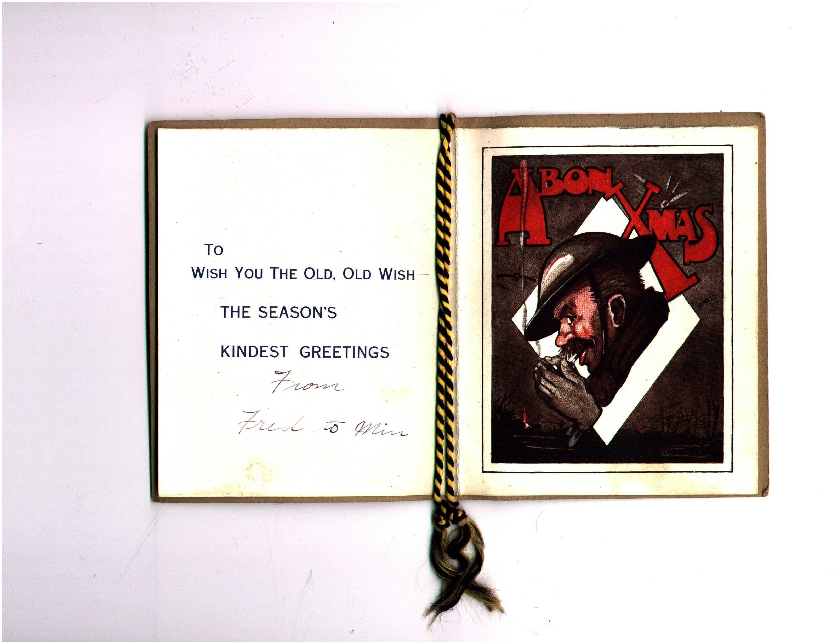 Inside, 19th Battalion Officer's Christmas Card, 1917. The fictional character depicted is Old Bill, the work of cartoonist Bruce Bairnsfather.