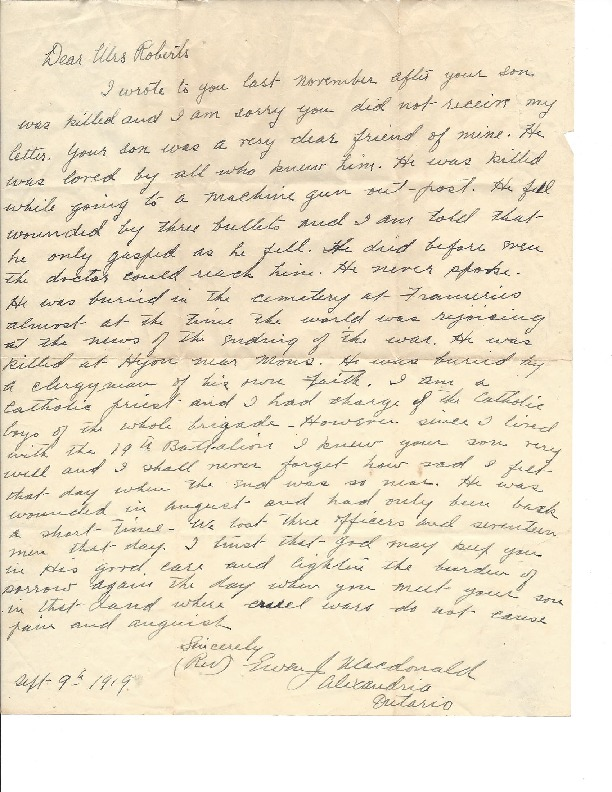Letter from Father Ewen J. Macdonald (1882-1972), brigade chaplain, to Mrs Roberts, 9 Sept. 1919.