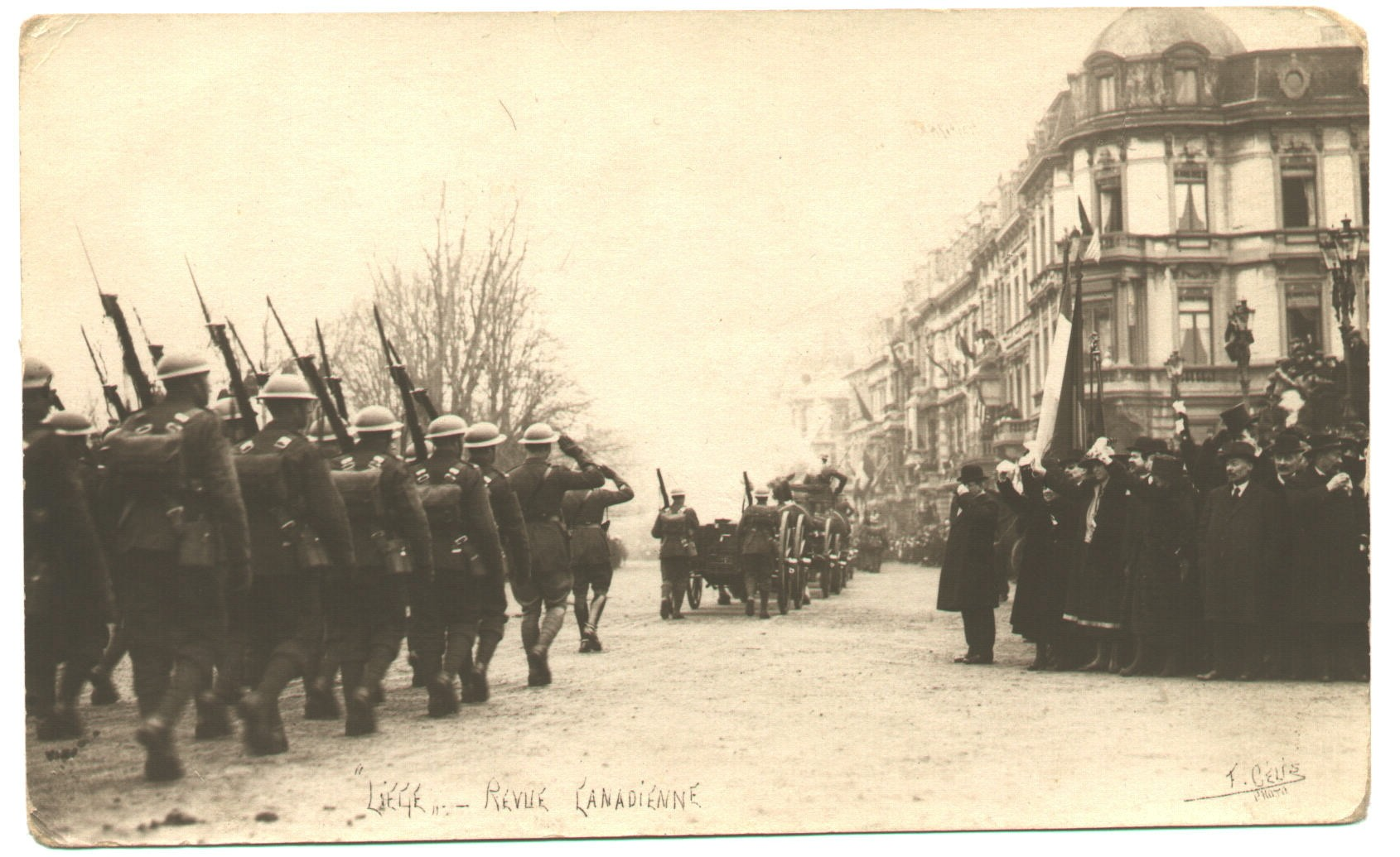 The 19th Battalion marching through Liège, Belgium