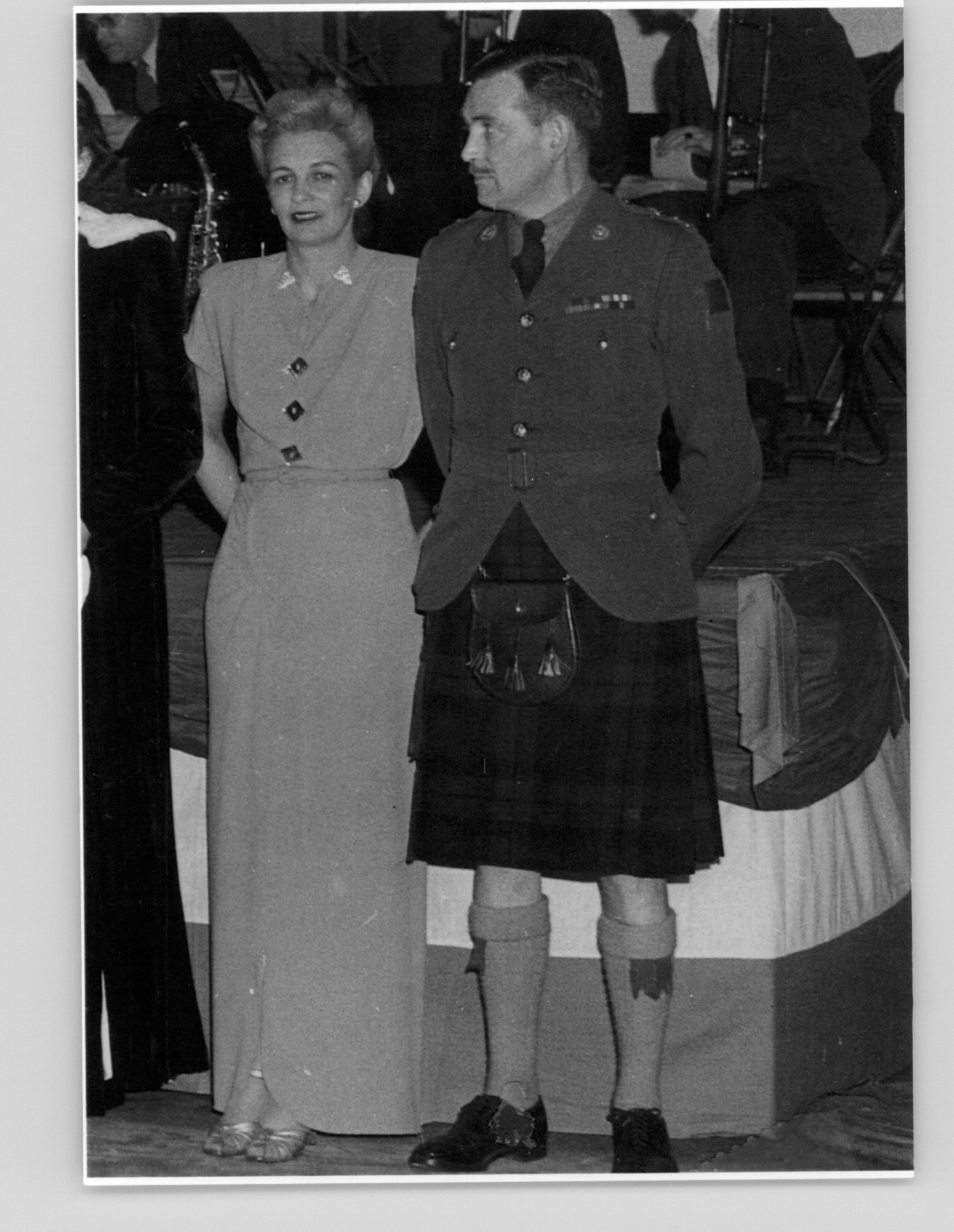 Lt-Col J.D. Stewart, DSO, and Mrs Constance Stewart, James Street Armouries, Hamilton, 1946.