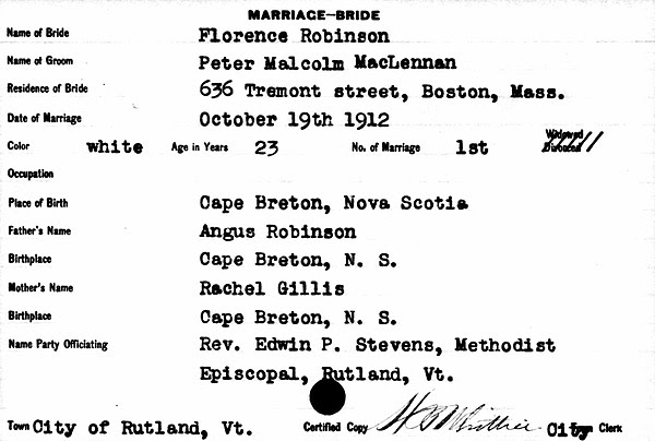 Marriage certificate Maclennan's parents