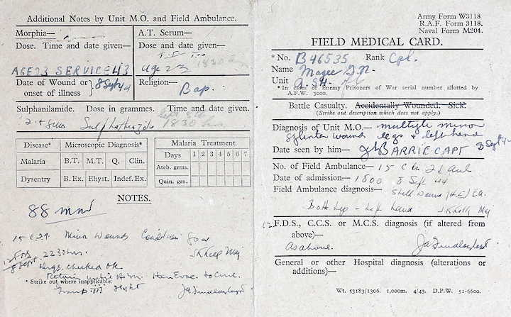 Field medical card, Cpl G.N. Magee