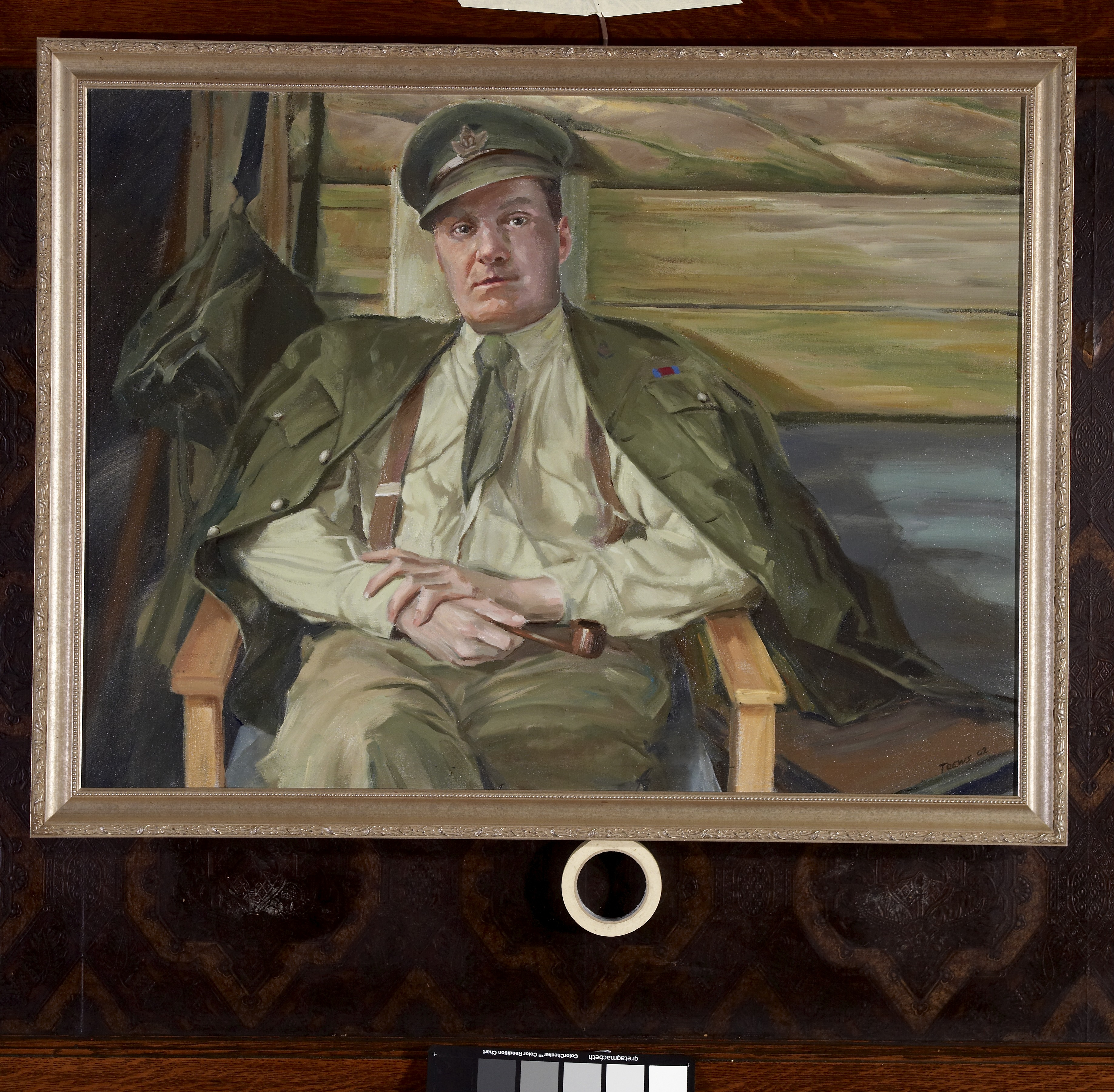 Lorne Toews, oil portrait of Lt-Col L.H. Millen, DSO, in the trenches, c. Feb. 1918.
