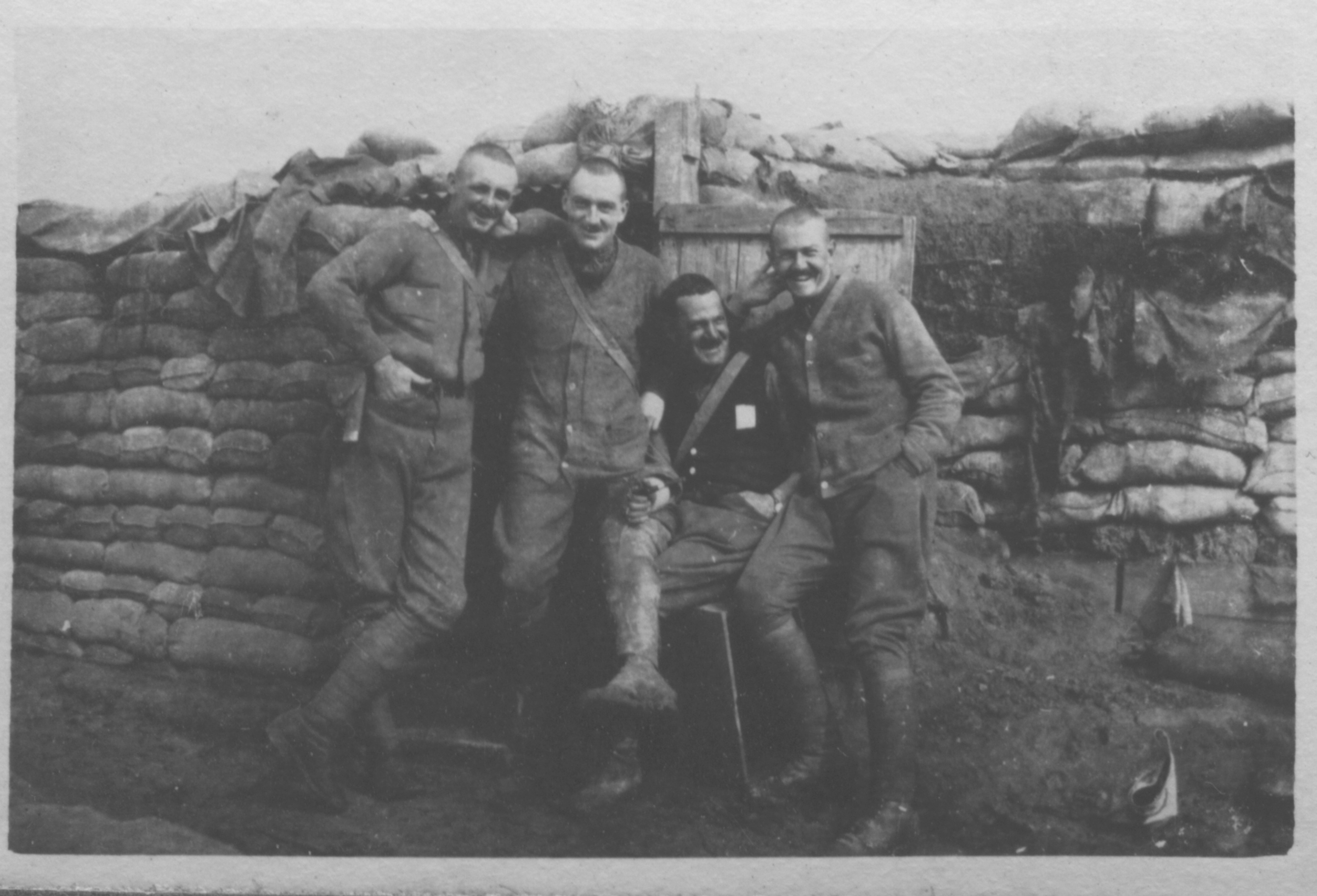Lt-Col Lionel Millen in a trench with some of his officers, spring, 1918.