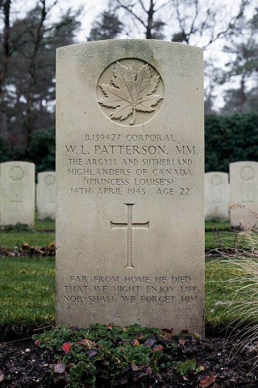 Grave marker, Cpl Welby Lloyd Patterson, MM
