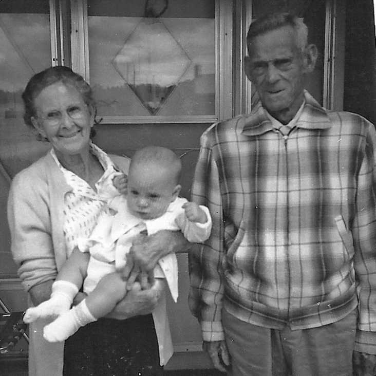 Blanche and Fred Woodward Sr with great-grandson Beamsville 1965