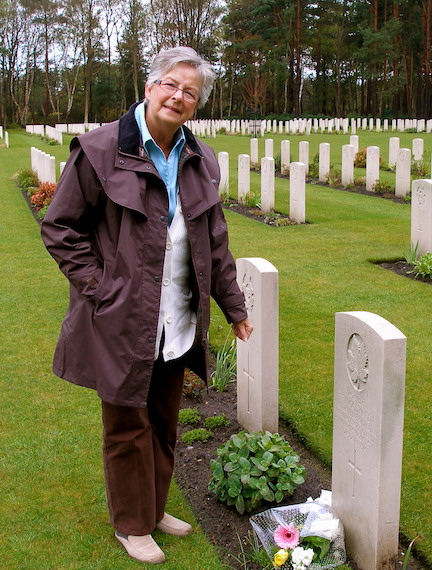 Carol Burak at father's grave Brookwood Military Cemetery Surrey