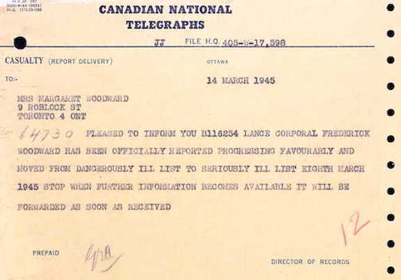 Telegram status Woodward March 1945
